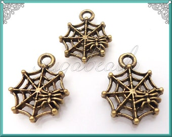 15 Small Antique Gold Spider Web Charms 17mm