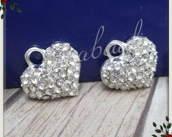 4 Silver Plated Crystal Heart Charms 13mm PS161