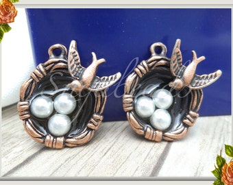 3 Bird Nest Charms - Antiqued Copper Bird's Nest Charms 24mm