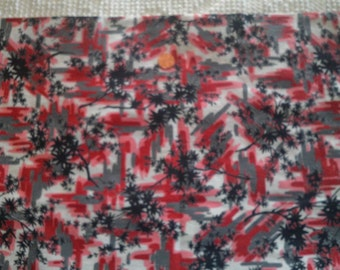 Vintage Cotton Fabric Pink Rose Gray Black on White