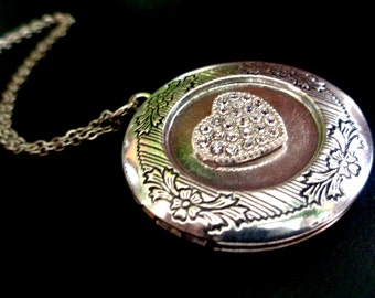Heart Necklace, Heart Locket Necklace,Round Locket Necklace