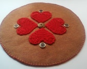 Crocheted Hearts Candle Table Rug Primitive Chic