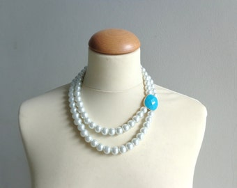 Statement white pearl turquoise necklace
