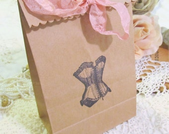 Lingerie Party Vintage Corset Favor Gift Bags with Ribbons - Set of 10 -Choose Ribbons & Ink - Bridal Lingerie Shower Bridesmaid Gift Bags