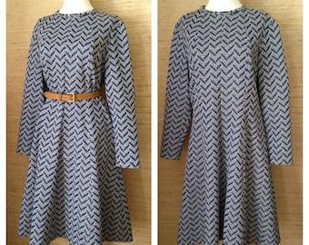 Vintage 1960s-70s Long Sleeve A-Line Dress, Navy Textural Chevron