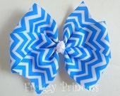 Chevron Hair Bow - Blue Pink Green Orange or Rainbow Pinwheel Style - No Slip Velvet Grip