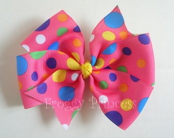 Party Spots Bow - Pink Polka Dots Pinwheel Style - No Slip Velvet Grip Hair Clip