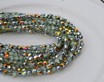 Peridot Marea 4mm Faceted Fire Polish Round Czech GLass Beads 50