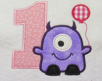 One Eye Monster 1st Birthday Balloon Embroidery Applique Design - 2 Sizes - Custom Sayings Welcome