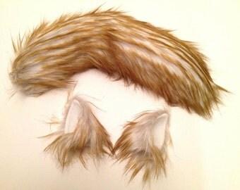 Wolf Ears and Tail  Blonde Husky Wolf Halloween Costume - -Anime, Fantasy, Cosplay. Burning Man