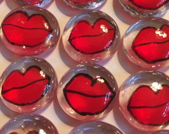 Hand painted glass gems party favors mini art  red lips kiss  set of 50