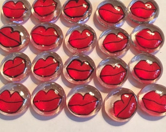 Handpainted glass gems party favors mini art  red lips