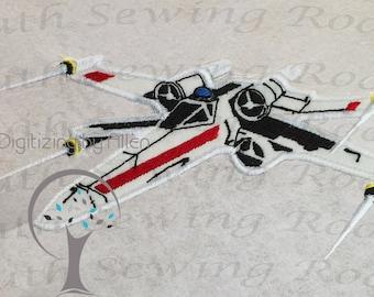 Star Wars X Wing Fighter Rebel Applique, Applique Embroidery Design