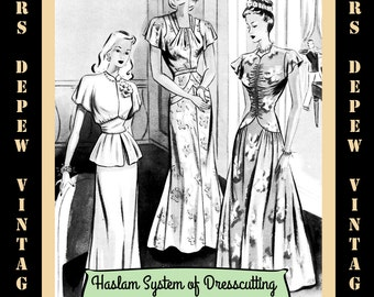 Haslam Dresscutting Book No. 23 1940's Vintage Sewing Pattern E-book with 38 Pattern Draftings