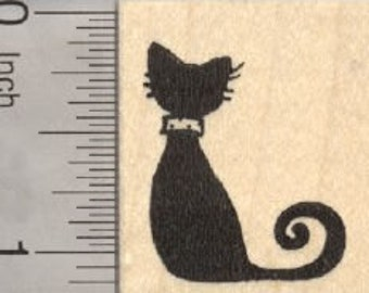 Black Cat Rubber Stamp D28603 Wood Mounted