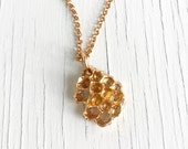 Honeycomb Necklace Beehive Pendant Jewelry Authentic Honeycomb in Golden Bronze
