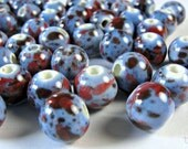 Cornflower Blue with Red Porcelain Round Beads,  10mm, BD915