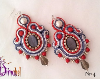 Red jadeite and coral soutache earrings