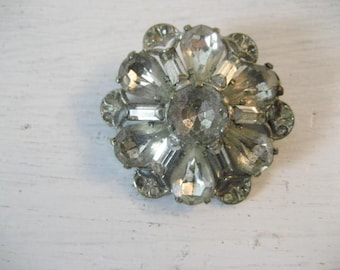 Vintage Czech Glass Faceted Rhinestone Flower Brooch Pin