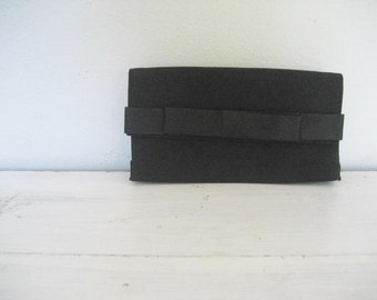 Vintage Black Clutch with Bow Accent