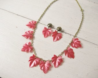 Vintage Pink Leaf Charm Necklace and Matching Earrings Set