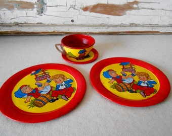 Vintage Ohio Art Tin Toy Dishes, Jack and Jill, Lithograph Tin Toys