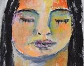 Acrylic Portrait Mini Painting. Young Girl Meditating Painting. 4x4 Pocket Art.