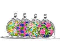 CHOOSE Your Glass Dome Pendant Necklace, Preppy Necklace, Alligator, Elephant, Sea Turtle, Flamingo, Green Blue (Preppy Animal Necklace)