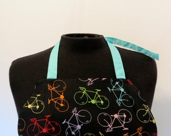 Full Apron - Bicycles - Turquoise Pocket