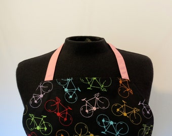 Full Apron - Small - Bicycles with pink ties