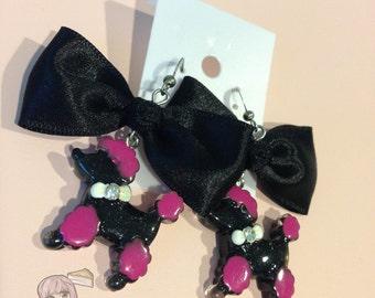Black Poodle Bow Earrings
