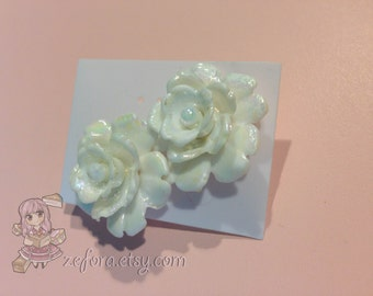 Pearly Big Rose Stud Earrings