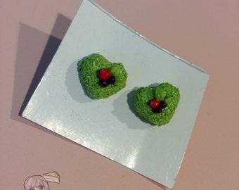Green Heart Cake Stud Earrings
