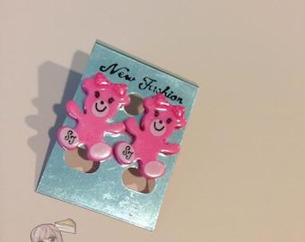 Kawaii Pink Girl Bear Stud Earrings