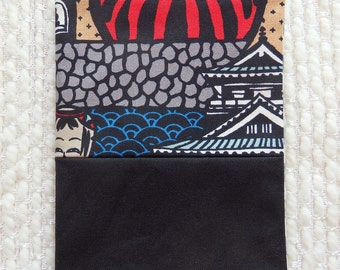 Japanese Castle Fabric Covered Notebook, Peekaboo Kokeshi and Mt. Fuji Fabric Covered B6-size Retro Notebook, Black Gray Blue Red, Ocean