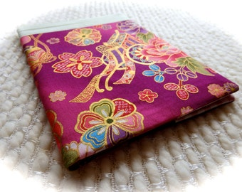 Japanese Fabric Covered Notebook, Royal Jinrikisha and Vintage Kimono Fabric, Pieced Fabric Covered B6-size Retro Notebook, Purple Pink Gold