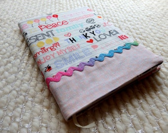 Teen Graffiti Fabric Covered Notebook, Tween Doodles and Rainbow Rick Rack Fabric Notebook Cover, B6-size Retro Notebook, Pink White Blue
