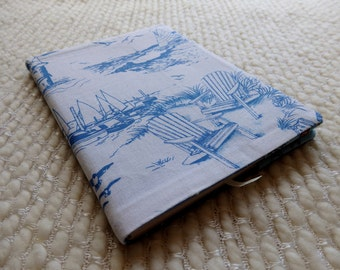 Sailboat Notebook, Beach Adirondack Chairs Fabric Notebook Cover, Nautical Blue and White B6-size Retro Fabric Covered Notebook