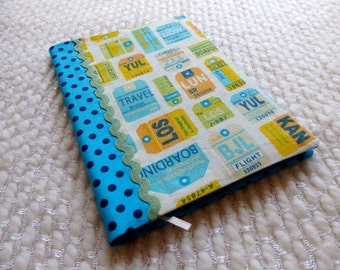 Travel Notebook, Fabric Covered Retro Notebook with Airline Travel Tags, Turquoise Polka Dots and Green Rick Rack, Size B6, Yellow Blue