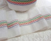 "Vintage Embroidered Sewing Trim Five Yards 7"" Inches Wide Red Green Yellow Embroidery Sewing Supplies NOS New Old Stock"