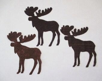 "9 Woodland Moose Set Iron On Appliques 4"""