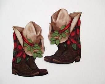 2 Christmas Cowboy Boots Hats Iron On Appliques Patch 4 1/2""