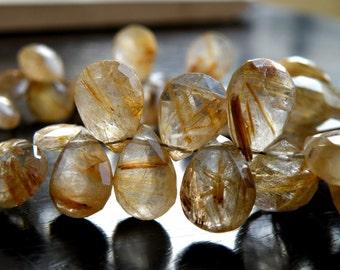 Rutilated Quartz Briolette Gemstone Golden Faceted Pear Teardrop 11.5 to 12.5mm 4 beads