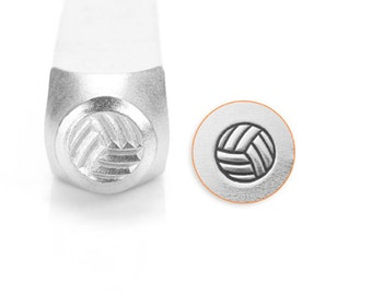 Volleyball Design Stamps, SC157-O-6mm, Metal Stamp, Carbon Steel Design Stamp, ImpressArt Design Stamp, Volleyball Stamp, Sports Stamps
