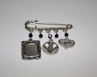 Kilt Pin Brooch For Mum With Picture Frame And Thistle