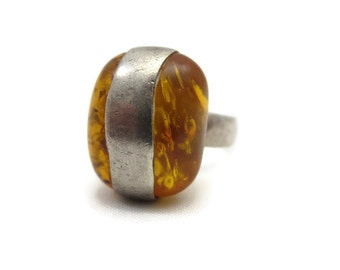 Amber Statement Ring - Baltic Amber, Sterling Silver, Bold Chunky, Nugget