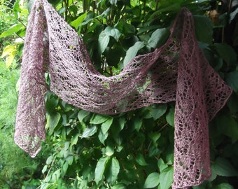 Linen Hand Knitted Lace Scarf
