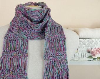 Lightweight Crochet Scarf: Flirty  Crochet Scarf in Jewel Colors - Item 1053