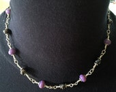 Lamp Work and Silver Choker Purple and Metalic Glass by Kate Drew-Wilkinson