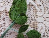 Vintage Millinery Leaves 1950s Green Velvet Rose Leaves 6 Stems Of 3 Leaves BDL 35